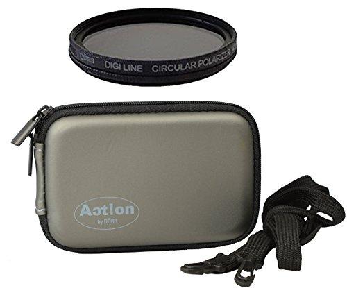Circular Polfilter ultraslim 40 5mm vergütet mit Gürteltasche für Filter Speicherkarten etc. für Sony Alpha 5000 6000 6300 und andere