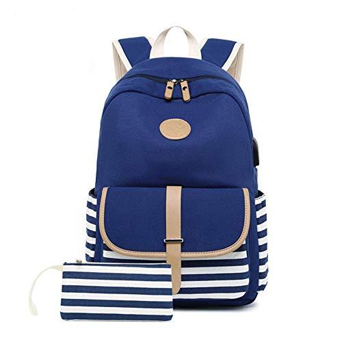 Goforwealth USB-Ladeanschluss Mädchen Schulrucksack Mode Frauen Leinwand Rucksack abgestreift Schultasche Teenager-Mädchen Großraum-Canvas-Tasche Korean Printing Umhängetasche -