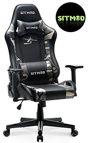 Sitmod Gaming Stuhl Game Stühle Racing Sessel Lehnstuhl für PC Computer, Ergonomische Stuhl mit Lordosenstütze PU-Lede E-Sports Gamer Groß und Hoch (Tarnen)