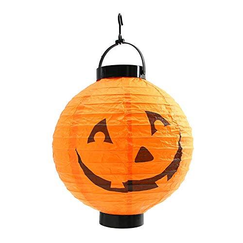 EqWong Halloween LED Lampions, Lampion Halloween-Papierlaterne mit LED beleuchtet Halloween-Kürbis Spinnen-Schläger-Skeleton Laterne Dekorative für Party, Weihnachten, Garten, Patio, Halloween