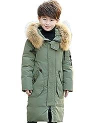 LSERVER-Parka de larga con capucha Abrigo chaqueta de pluma abrigo de invierno