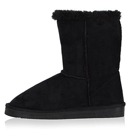 Damen Schuhe Schlupfstiefel Warm gefüttert Schwarz
