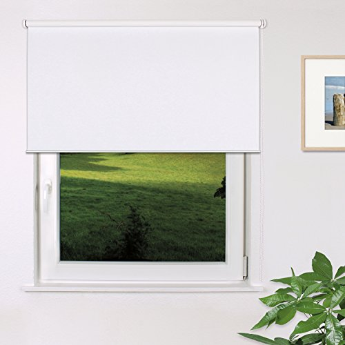 Fensterdecor Fertig Verdunkelungs-Rollo, Sonnenschutz-Rollo zum Abdunkeln von Räumen, Blickschutz-Rollo in Weiß, lichtundurchlässig und Blickdicht, 120 x 180 cm