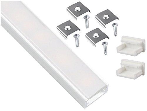 Perfil Blanco Aluminio Anodizado Set 2m + Protectora Opal + 2x endkappe + 4x Montaje Pinza–para tira de luz LED