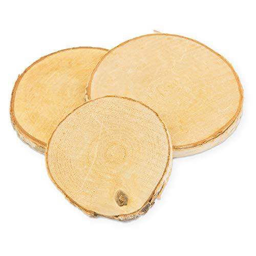 itenga Deko Holzscheiben klein 10 Stück zum Basteln Birke rund ca. 9-10cm ca. 1cm dick