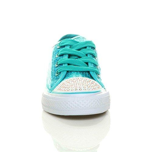 Mädchen Kinder Glitzern Paillette Schnüren Plimsolls Turnschuhe Sneaker Größe Blau