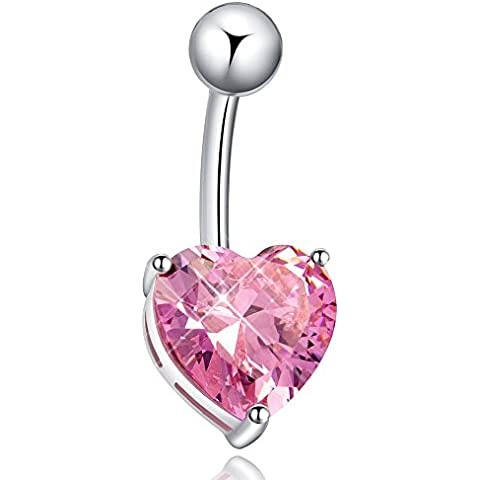 Strass anello piercing ombelico Belly Bar cuore Body Piercing gioielli in acciaio - Cuore Bar