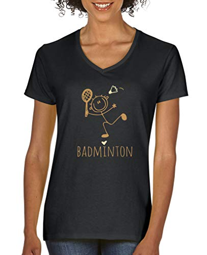 Comedy Shirts - Badminton Herz - Damen V-Neck T-Shirt - Schwarz/Hellbraun-Beige Gr. L