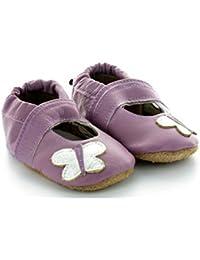 Chaussons Bébé en Cuir Souple Sandale Violette