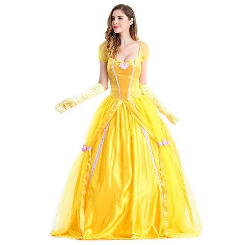 Z&S Halloween Lady Kostüm Cinderella Schneewittchen spielt EIN Ballkleid (Kleid + Handschuhe + Rockstütze),Gold,M