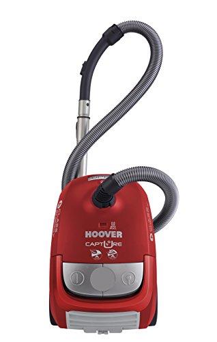 Hoover CP71_CP31011 Capture CP 31-Aspirador con Bolsa Energética: A. Clase Eficiencia Succión Suelos Duros: A. Sonoridad 85 DBA. Asa de Transporte, 700 W, 2.3 litros, Decibeles, Rojo Race y Gris Cool Oscuro