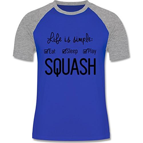 Tennis - Life is simple Squash - zweifarbiges Baseballshirt für Männer Royalblau/Grau meliert