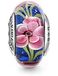 Soufeel Blau mit Rosa Blumen Muranoglas Bead Charm 925 Sterling Silber