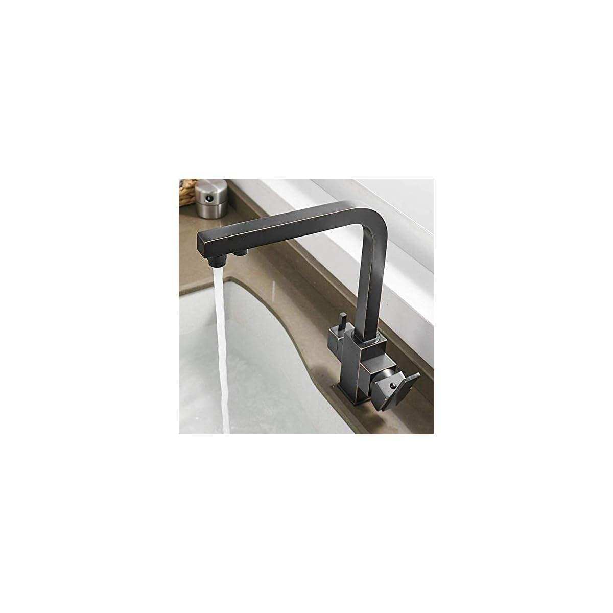 412IA5R7pOL. SS1200  - ERMAO Slt Grifo de Cocina de 3 vías Negro Antiguo para Filtro de Agua 360 ° Grifo Giratorio de Agua Potable Grifo Mezclador de 2 palancas Grifo de Lavabo 3 en 1 Grifo de Agua Potable, latón