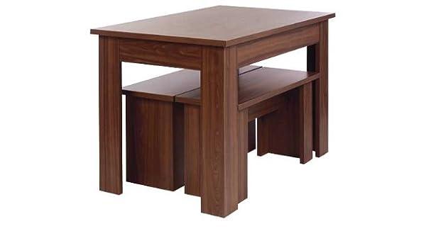 Terrific Warsaw Walnut Melamine Dining Table And 2 Benches Amazon Co Creativecarmelina Interior Chair Design Creativecarmelinacom