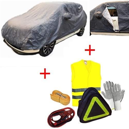 für OPEL Corsa 5P CAR KIT AUTOABDECKUNG MIT Futter Zip GRÖßE M Anti-Scratch Rainproof Handschuhe, BATTERIEKABEL, SCHLEPPSEIL,FLUOUS Jacke
