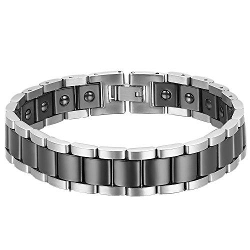 Cupimatch Herren Magnet Edelstahl Keramik Armband, 13mm Breite Rechteck Link Handgelenk Magnetarmband Armreif, Schwarz Silber