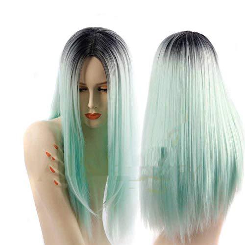 Lange gerade grau rot rosa Schwarze synthetische Perücken für Frauen Cosplay Haar, Grün, 26inches (Queen Elizabeth Rote Haare)