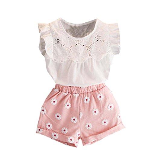 7 Jahre alt) Kleinkind Kinder Baby Mädchen Sommer Spitze gedruckt Outfits Kleidung (Tops+ Kurze Hosen) Sommerkleidung Mädchen Kleidung Set (100CM (3-4 Jahre alt), Rosa) ()