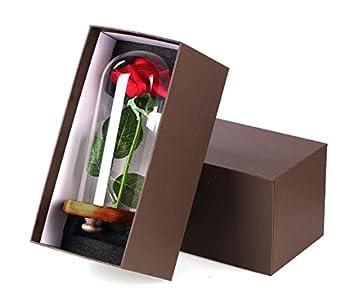 """Vollständiges """"Die Schöne Und Das Biest""""-set, Rote Seidenrose Und Led-licht Mit Herabgefallenen Blütenblättern In Glaskuppel Auf Einem Holzsockel Von Ysber Color Lamp Rose Shade 5"""