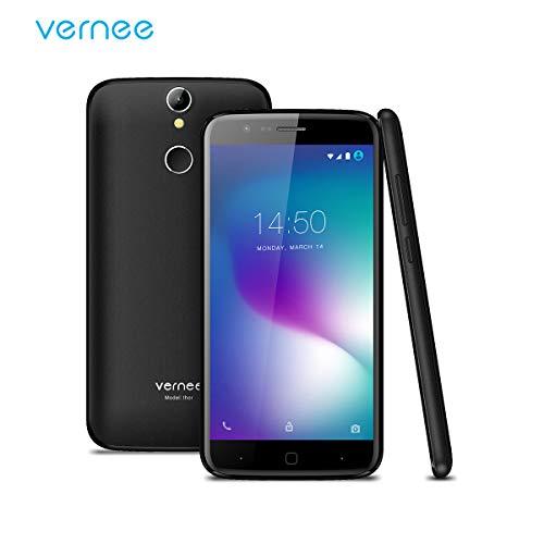 Vernee Thor Smartphone Ohne Vertrag, Android 7.0 OS, Dual Sim Dual Standby, 4G Handy, mit 5 Zoll HD Bildschirm, 2.5D Gorilla Glass, 3GB RAM, 16GB ROM, 2800 mAh Akku, 13MP Hinten&5MP Frontkameras, MTK6753 Octa-Core 1.3GHz Prozessor, Fingerabdruck Entsperren(Schwarz)