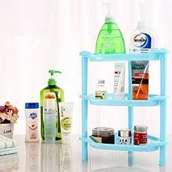 Three Layers Plastic Corner Shelf Bathroom Organizer Cabinet Sundries Rack(Blue)