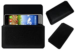 Acm Horizontal Leather Case For Micromax A190 Canvas Hd Plus Mobile Cover Carry Pouch Holder Black