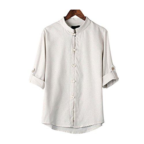 Hzjundasi Herren Chinesisch Kostüme Baumwolle Leinen Kurzarm Hemd Tang Anzug (Casual Leinen-anzug)