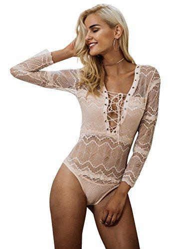 Simplee Apparel Damen Bodysuit Sexy Langarm V-Ausschnitt Lace up Spitze Transparent Bodysuit Langarmshirts Oberteile (Bodysuit Damen)
