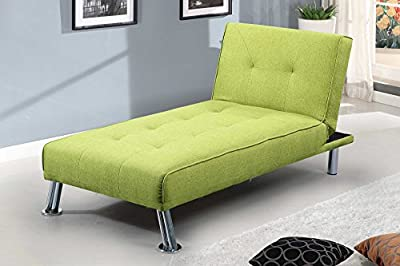 New York Fabric Chaise Longue 1 Seater Sofa Bed Green or Grey by Sleep Design from SLEEP DESIGN