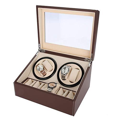 astuccio di avvolgitore di Rotazione automatica per Orologi storage box per Orologi O, DA organizzatore E Spettacolo, 4+ 6Grids marrone