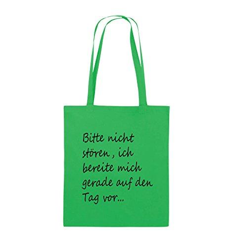 Comedy Bags - Bitte nicht stören, ich bereite mich gerade auf den Tag vor. - Jutebeutel - lange Henkel - 38x42cm - Farbe: Schwarz / Silber Grün / Schwarz