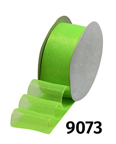 2m x 18/25/38mm Organzaband Chiffonband Schleife Dekoband Band Geschenkband Deko Schleifenband Tischband • 28 Farben zur Auswahl (9073 / Neongrün, 25)