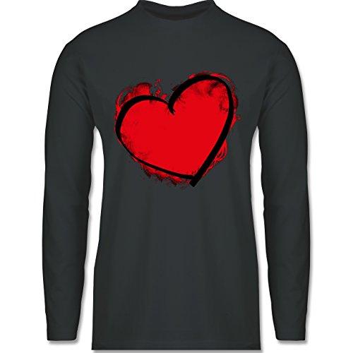 I love - Herz gemalt - Longsleeve / langärmeliges T-Shirt für Herren Anthrazit