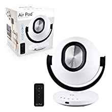 Air Pod 40019 Oscillating Bladeless Fan 6 Air Speeds Remote Control Touch Sensitive, White, H36 x W26 x D26cm