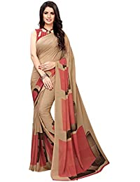 KANCHNAR Women's Georgette Saree With Blouse Piece