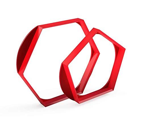 3DREAMS ⚽️ Fußballtorten Waben Ausstecher 2er Set │Ausstechform für Balltorten 22cm Ø │inkl. 2 Rezepten │Fussball Keksausstecher Pattern Sechseck - Hexagon Pentagon│kugelförmige Tortendeko │Fondant