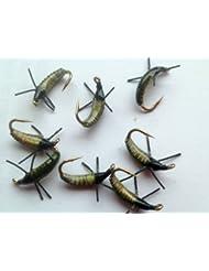 Pêche à la mouche Grubs, lente statique l'eau coule lentement nymphes - Olive size10 qualité Royaume-Uni truite mouches Lot # 48