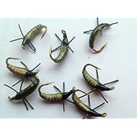 Pesca con mosca larvas, ninfas estática lenta lavabo - oliva size10 calidad trucha vuela #48 paquete leafpod
