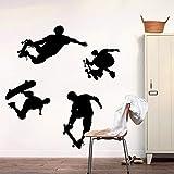 Dalxsh Jugendliche Spielen Skate Wandtattoo Aufkleber FürKinder Jugendliche Wohnzimmer Skate Surfen Tapete Wohnzimmer Wand 40X60 Cm