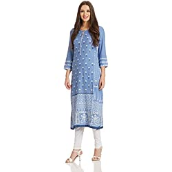 BIBA Women's Straight Kurta (MUD ART 12376_blue_32)