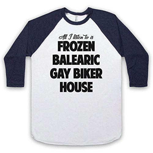 Frozen Balearic Gay Biker House Niche Dance Music 3/4 Hulse Retro Baseball T-Shirt Weis & Ultramarinblau
