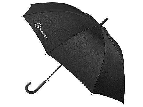 Preisvergleich Produktbild 1x Mercedes Benz Regenschirm Regen Schirm Stockschirm schwarz Polyester / Stahl Automatik-Stockschirm ca. 83 cm lange und ca. 440 Gramm