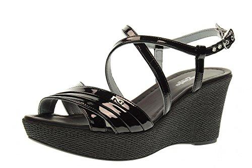 NERO GIARDINI scarpe donna sandali zeppa P717615D/100 Nero