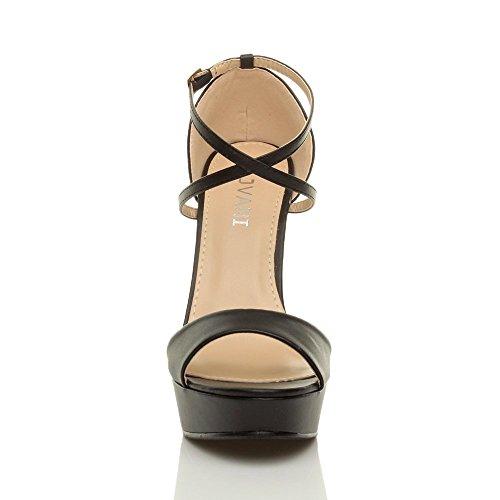 Damen Hoher Absatz Gekreuzten Riemchen Peep Toe Schuhe Plateau Sandalen Größe Schwarz Matt