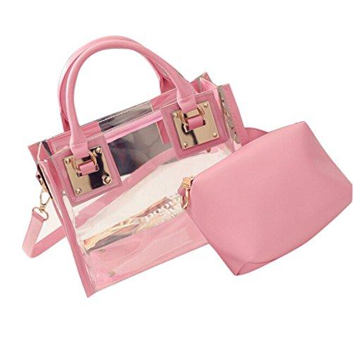Signature Damen Leder Tasche (Damen Taschen, KIMODO Mode FüR Frauen Transparente UmhäNgetasche Mit SüßIgkeiten Strand Handtasche Messeng Tasche (Rosa))