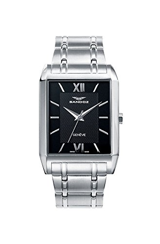 Sandoz 81403 – 53 Knight Quartz Steel Watch with Steel Bracelet, Rectangular, with Sapphire Crystal Box and Switzerland Machinery