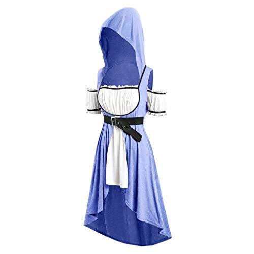 SEHRGUTGE Damen Retro Hoodie Kleid, Square Neck Belted Off-Shoulder Maxi-Kleid - Mittelalter Renaissance viktorianischen Kostüm - Abendkleid Kostüm für Palace Royal Masquerade (Royal Renaissance Kostüm)