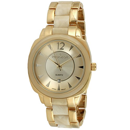 Peugeot Women's 7096GCR Gold-Tone Ivory Tortoise Shell Watch