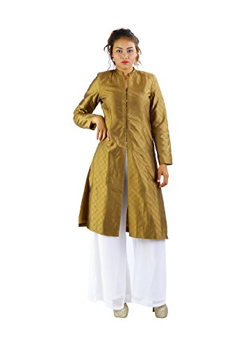 Godwit Khadi Women's Silk Indowesterns - Gold_42